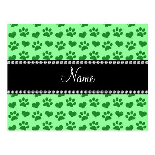 Personalized name light green hearts and paw print post card