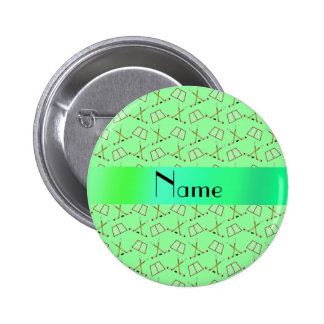 Personalized name light green hockey pattern 6 cm round badge