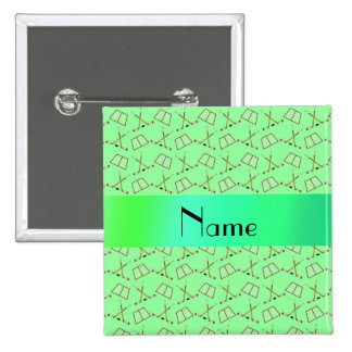 Personalized name light green hockey pattern 15 cm square badge