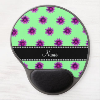 Personalized name light green pink purple flowers gel mouse pad