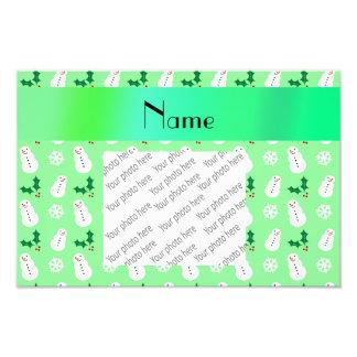 Personalized name light green snowman christmas photo art