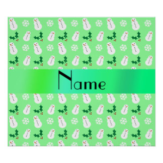 Personalized name light green snowman christmas poster