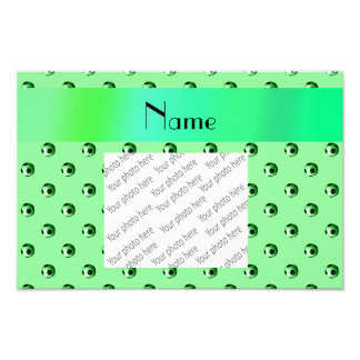 Personalized name light green soccer balls photo