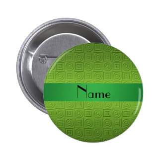 Personalized name light green square circles 6 cm round badge
