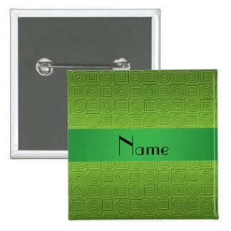 Personalized name light green square circles 15 cm square badge