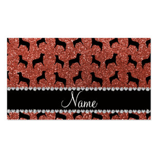 Personalized name light orange glitter dogs business card templates