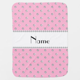 Personalized name light pink diamonds white stripe baby blanket
