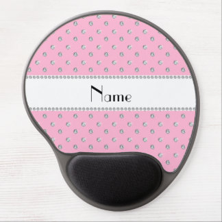 Personalized name light pink diamonds white stripe gel mouse pads