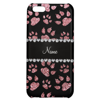 Personalized name light pink glitter cat paws case for iPhone 5C