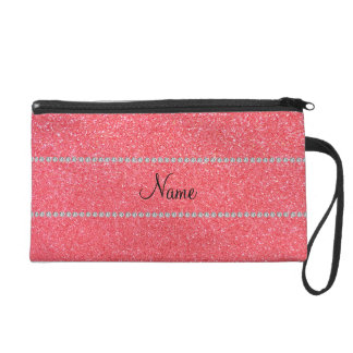 Personalized name light pink glitter diamonds wristlet clutch