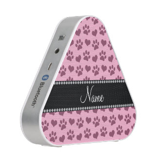 Personalized name light pink hearts and paw prints