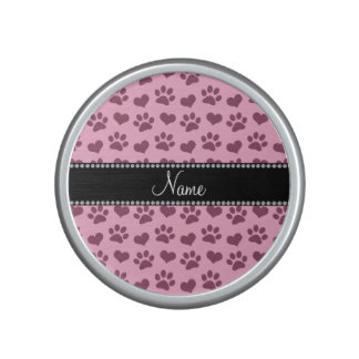 Personalized name light pink hearts and paw prints bluetooth speaker