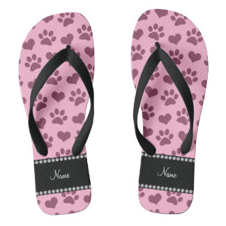 Personalized name light pink hearts and paw prints flip flops