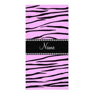 Personalized name Light pink zebra stripes Photo Card Template