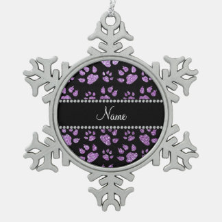 Personalized name light purple glitter cat paws snowflake pewter christmas ornament