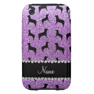 Personalized name light purple glitter dogs tough iPhone 3 cases