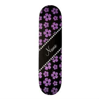 Personalized name light purple glitter flowers 18.1 cm old school skateboard deck