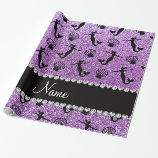 Personalized name light purple glitter mermaids wrapping paper
