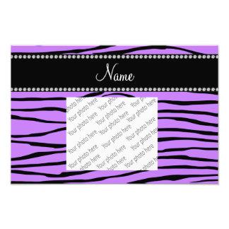 Personalized name light purple zebra stripes art photo