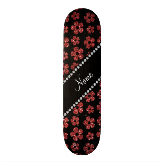 Personalized name light red glitter flowers skate boards