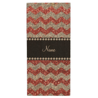 Personalized name light red silver glitter chevron wood USB 2.0 flash drive