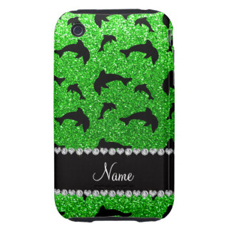 Personalized name lime green glitter dolphins iPhone 3 tough covers