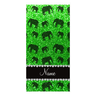 Personalized name lime green glitter elephants photo greeting card