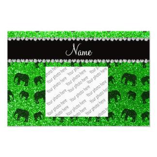 Personalized name lime green glitter elephants photo art