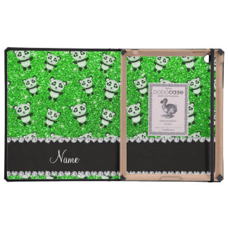 Personalized name lime green glitter pandas cover for iPad