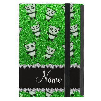 Personalized name lime green glitter pandas cover for iPad mini