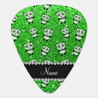 Personalized name lime green glitter pandas guitar pick