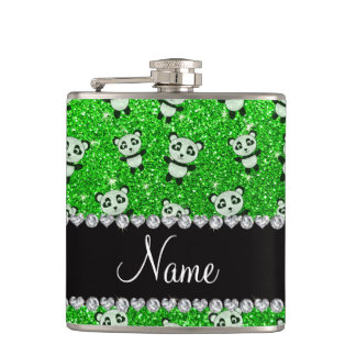 Personalized name lime green glitter pandas hip flask