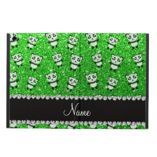 Personalized name lime green glitter pandas iPad air covers