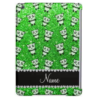 Personalized name lime green glitter pandas iPad air cover