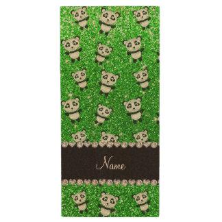 Personalized name lime green glitter pandas wood USB 2.0 flash drive