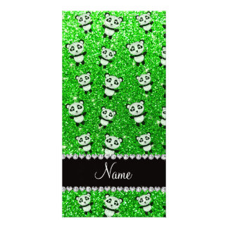 Personalized name lime green glitter pandas photo cards