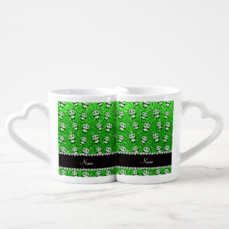 Personalized name lime green glitter pandas couples mug
