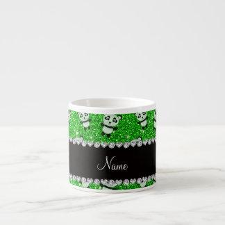 Personalized name lime green glitter pandas espresso mugs