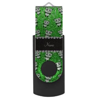 Personalized name lime green glitter pandas swivel USB 2.0 flash drive