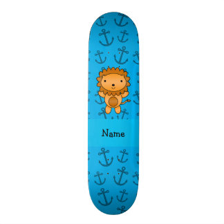 Personalized name lion blue anchors pattern skate board
