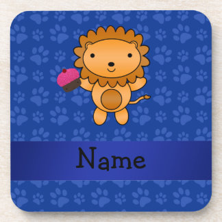 Personalized name lion cupcake blue paws coasters