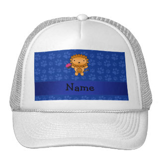 Personalized name lion cupcake blue paws mesh hats