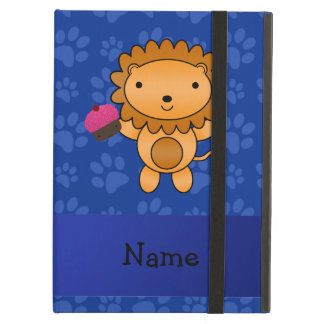 Personalized name lion cupcake blue paws iPad air cases