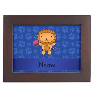 Personalized name lion cupcake blue paws memory box