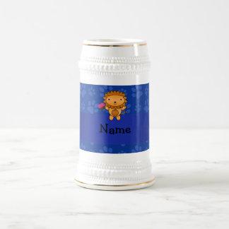 Personalized name lion cupcake blue paws mug