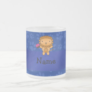 Personalized name lion cupcake blue paws mugs
