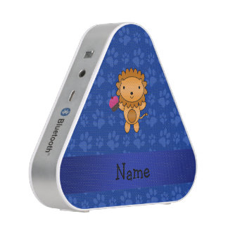 Personalized name lion cupcake blue paws speaker