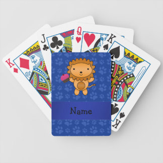 Personalized name lion cupcake blue paws bicycle poker cards