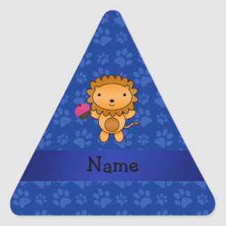 Personalized name lion cupcake blue paws stickers
