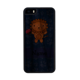 Personalized name lion cupcake blue paws carved® walnut iPhone 5 case